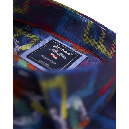 Armas Hemd Kurzarm Print Kent-Kragen